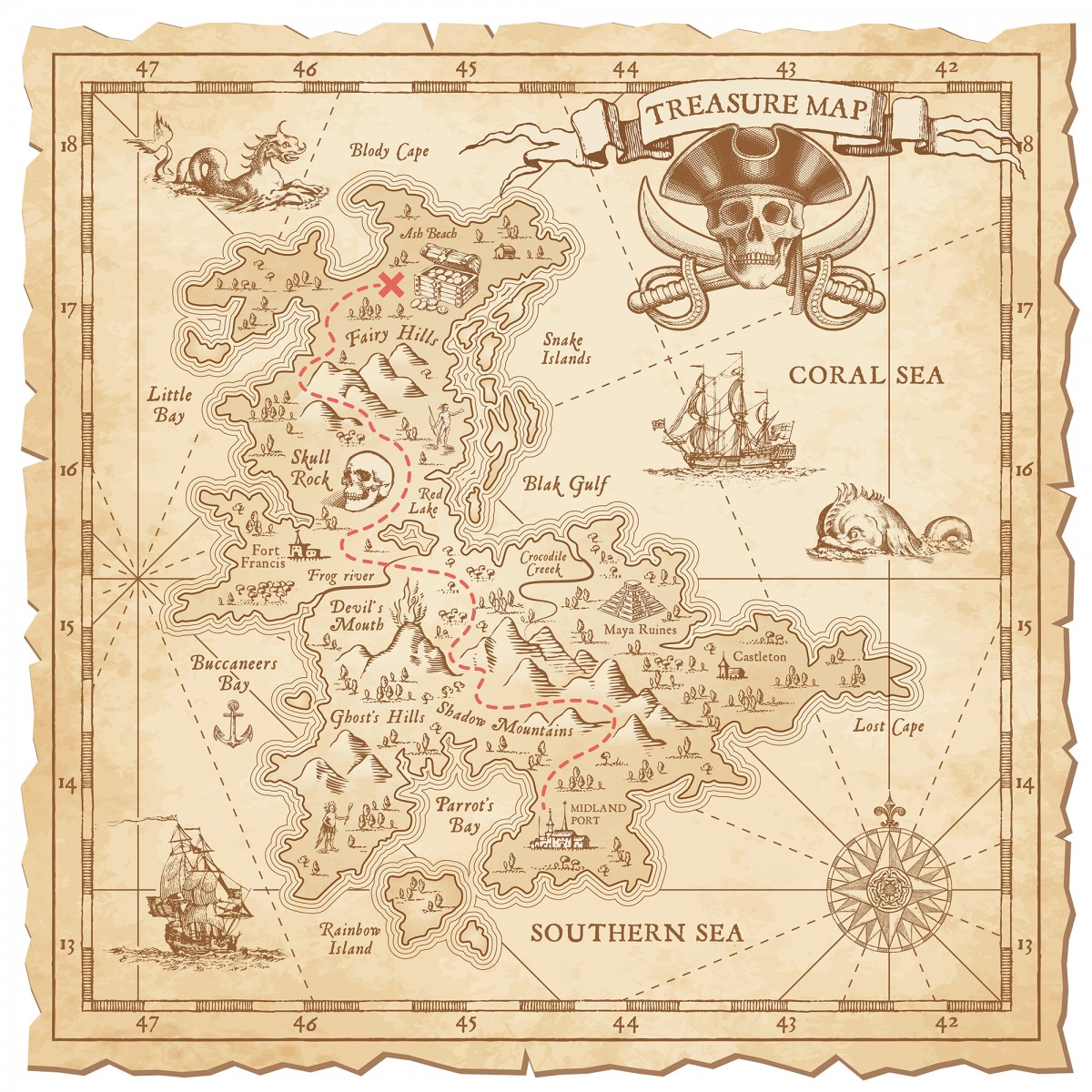 "A Hi detail, grunge Vector ""Treasure Map"" with lots of decoration hand drawn with incredible details."